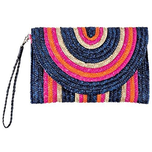 Mud Pie Striped Straw Envelope Clutch Bag (Pink-Orange-Tan)