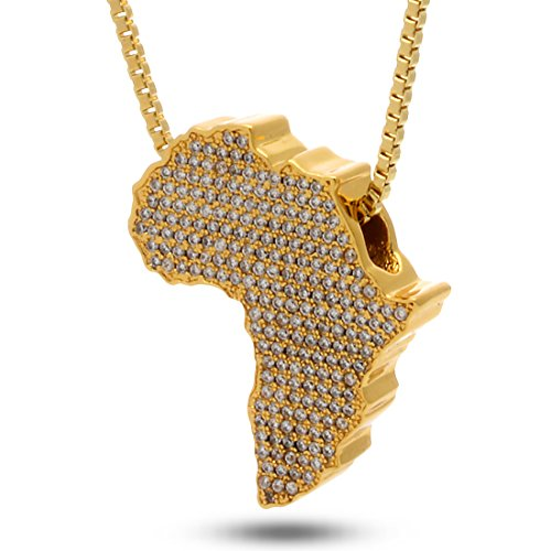 Jungl Julz 18K Gold Plated Africa Necklace by King Ice