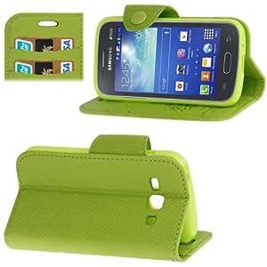 Cross Texture Magnetic Buckle Leather Case Cover Funda con bolsillos interiores & Holder & Lanyard para Samsung Galaxy Ace 3 S7272 piel (Green)