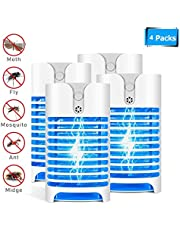 UV Mosquito Killer Lamp Electric Mosquito Bug Zapper Mini Pest Repellent for Flies Mosquitoes Moths for Home Kitchens Office (UK, Plug, 4 pack)