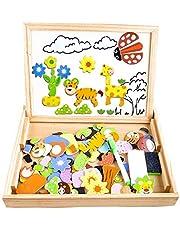 COOLJOY CL-8850 magnettavla av trä, pusselspel, dubbelsidig pussel- och testaffli, krittavla, pedagogisk leksak för barn (djurmönster), 100 delar