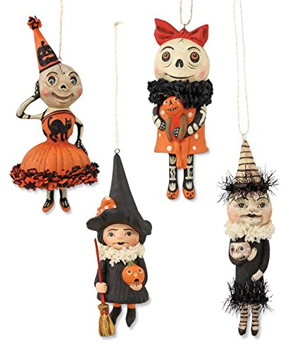 Bethany Lowe Happy Halloween Set of 4 Ornaments Debra Schoch Skeleton Witch