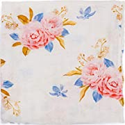 ADALINE Muslin Swaddle Blankets - Pink & Blue Floral - Baby Girl Nursery Essentials - Super Soft Bamboo Cotton (Large, 47x47)