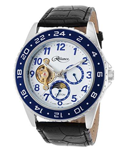 Croton Re306081ssbl Men's Reliance Auto Black Gen Leather White Dial Blue Bezel Base Metal Watch