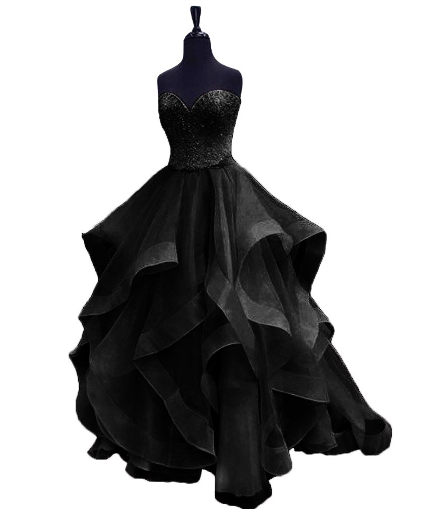HEIMO Women's Beaded Evening Party Ball Gowns Ruffled Sequined Formal Prom Dresses Long H196 22W Black