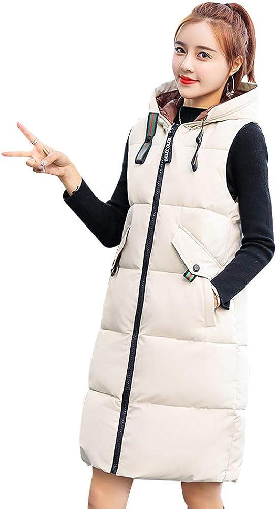 BOZEVON Vest Women Long Gilet Hooded Casual Down Cotton Lady Sleeveless Gilet