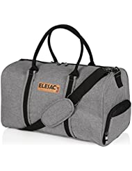 EleSac Canvas Style Duffel Bag for Men and Women with Shoe Compartment – Weekend Bag for Gym Overnight Baggage,