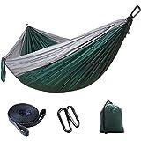"RAINBEAN Portable Camping Single & Double Hammock with Tree Straps, Lightweight Parachute Nylon Outdoor Hammock for Backpacking, Travel, Beach, Backyard, 118""(L) x 78""(W) Green"