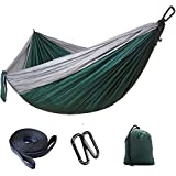 RAINBEAN Double Camping Hammock, Portable Lightweight Parachute Nylon Backpacking Hammocks, 2x Tree Hanging Straps for Garden, Travel, Hiking, Beach, Yard, 118''(L) x 78''(W) Dark Green+ Gray