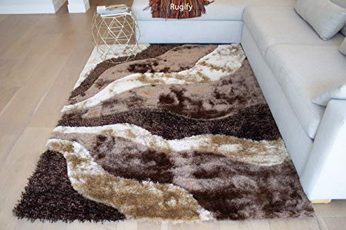 8'x10' Brown Chocolate Beige Tan Gold 3D Shag Shaggy Area Rug Carpet Striped Woven Braided Hand Knotted Feizy Accent Fluffy Fuzzy Modern Contemporary Medium Pile Shimmer - Signature L3 Brown ()