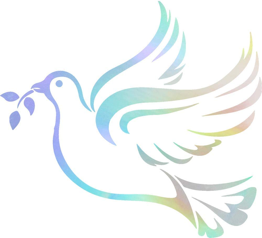 ANGDEST Christian Christian Symbol Dove Peace (Hologram) (Set of 2) Premium Waterproof Vinyl Decal Stickers for Laptop Phone Accessory Helmet Car Window Bumper Mug Tuber Cup Door Wall Decoration