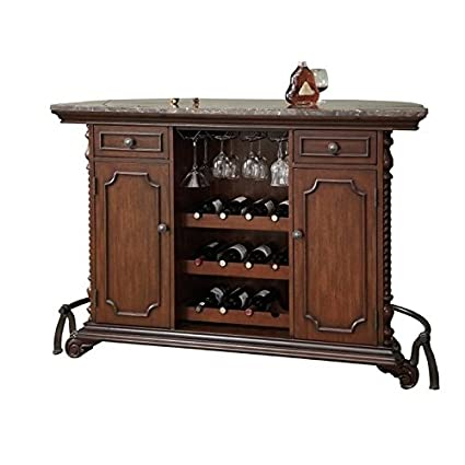 Amazon Com Bowery Hill Traditional Home Bar Unit With Marble Top In