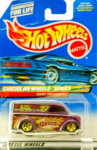 Hot Wheels 2000 - Mattel Circus on Wheels Series - #4 of 4 - Dairy Delivery (Purple) World's Smallest Circus Clowns Graphics - Gold Wheels - New - Out of Production - Collectible