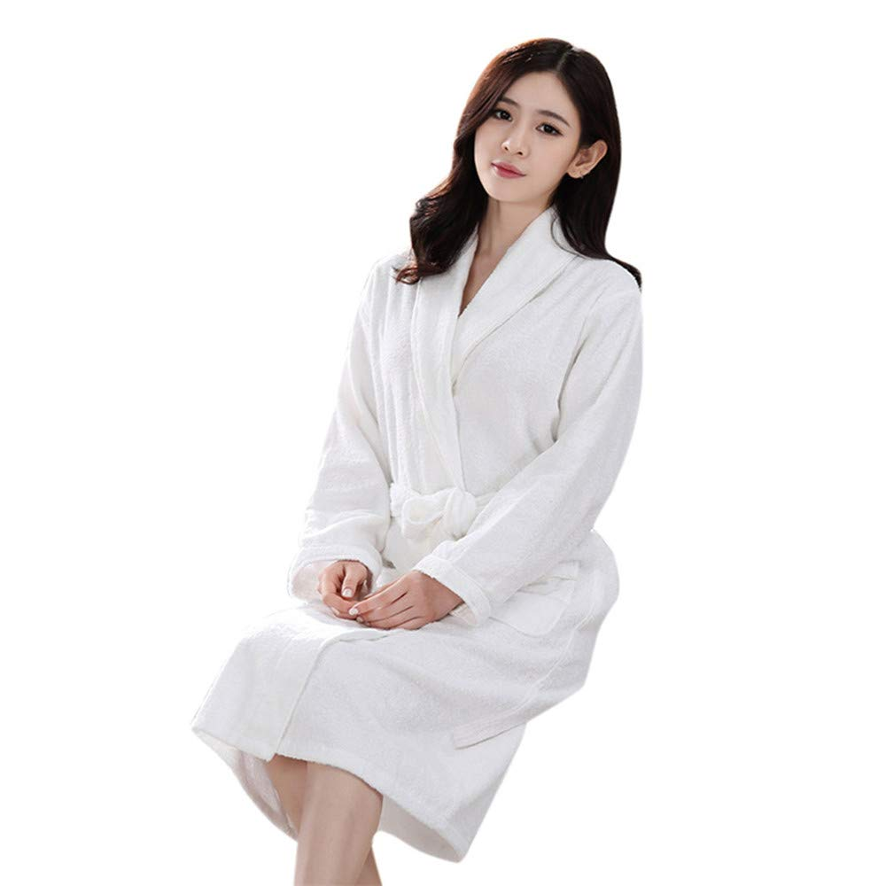 Quelife Lovers Winter Lengthened Bathrobe Splicing Home Clothes Long Sleeved Robe Coat (White,)