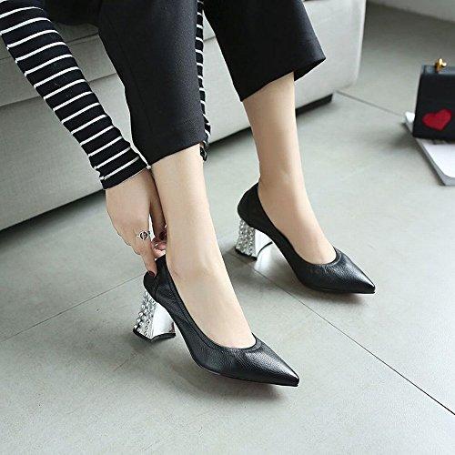 Jane Pointues Chaussures Cuir CXY Sexy Femmes avec Simples Élastique Chaussures Noir Hauts Femmes 35 Talons Mary des des Mode en à la de 7fPqZ7U
