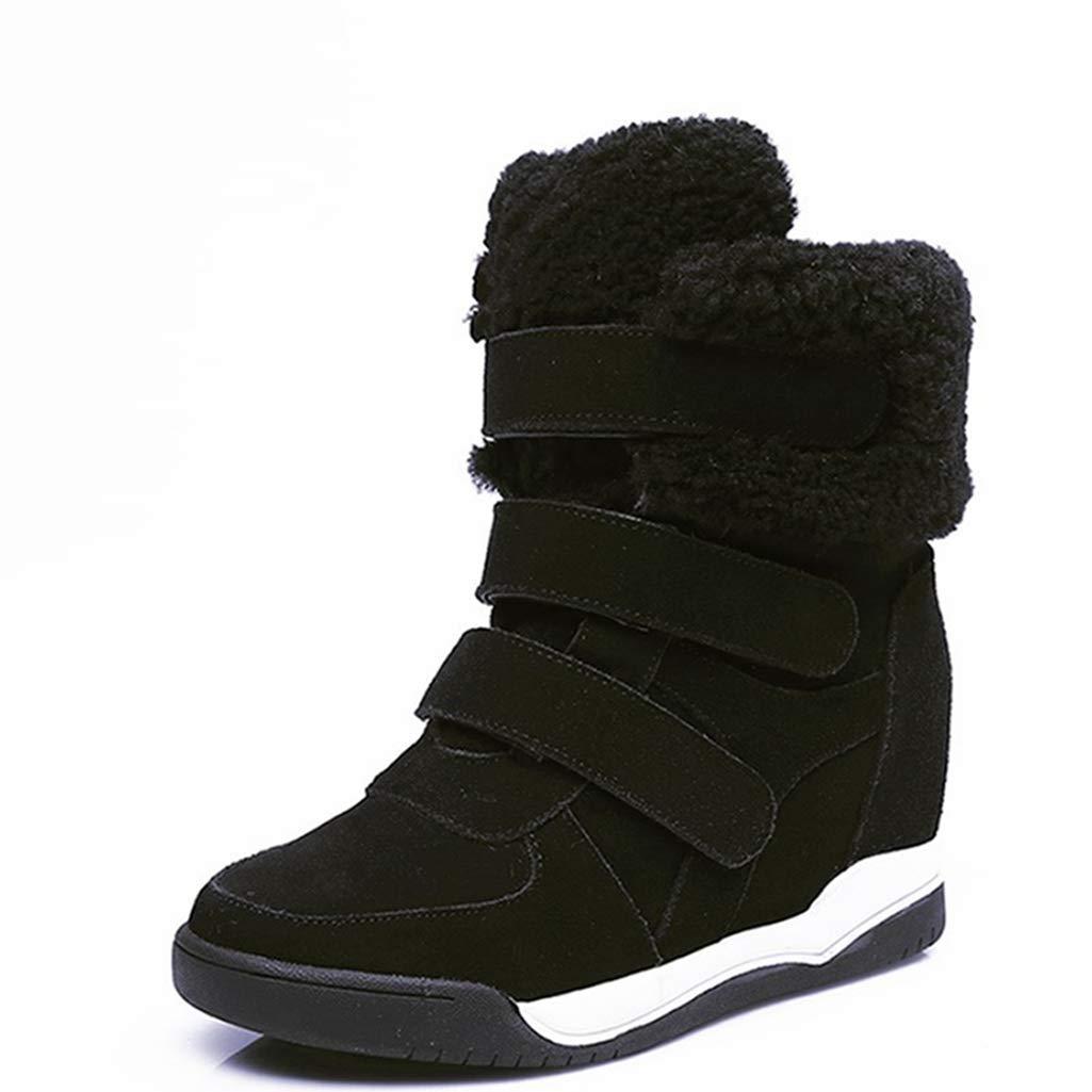 Black Fay Waters Women's Wedges Lambswool Short Boots Cow Fur Suede Hidden Heel Winter Snow Ankle Booties