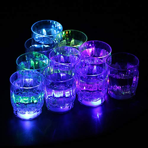 Flash Light Up Cups, Bestrice 24PCS LED Flashing Shots Glow Cup for Bar Night Club Party Drink