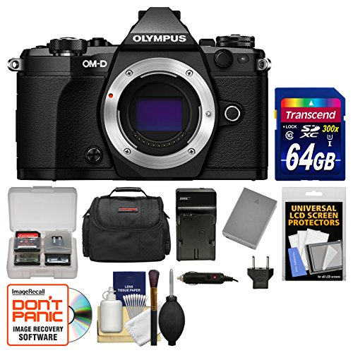 Olympus OM-D E-M5 Mark II Micro 4/3 Digital Camera Body (Black) with 64GB Card + Case + Battery & Charger + Kit (Micro Two Thirds Camera compare prices)