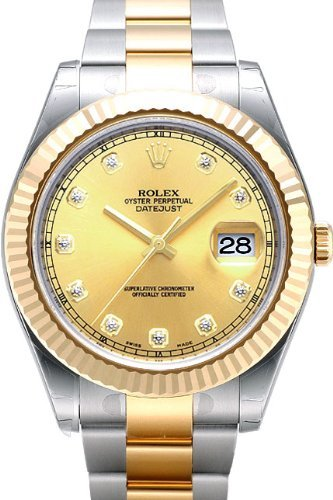 Rolex Datejust II Steel/Yellow Gold Watch, Champagne Diamond Dial