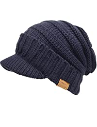 FORBUSITE Men Women Fleece Knit Visor Beanie Cap for Winter B320