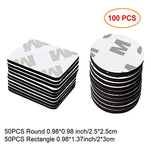 100 PCS Adhesive Replacement Kit Double-Sided Foam Tape High Bond Dots Conformable - Mirrors Bathroom Pads Adhesive