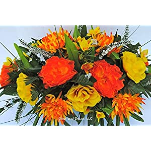 Fall Cemetery Headstone Flowers with Peonies, Mums, Yellow Roses, and Ferns with Mixed Greenery 2