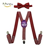 Grrry Children Fanny Pack Rainbow Wolf Adjustable Y-Back Suspender+Bow Tie Red