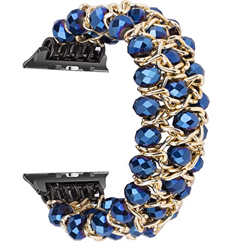 VODKE Band Compatible with Apple Watch 38mm 40mm, Women Girl Classy Bling Retro Crystal Beaded Stretch Elastic Bracelet Wristband Strap Band Compatible with iWatch Series 4/3/2/1 (Blue) ()