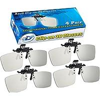 ED CINEMA Clip-On 3D GLASSES 4 PACK For LG 3D TVs – Adult Sized Passive Circular Polarized 3D Glasses