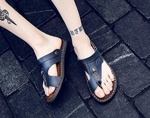 punta Flop Azul Zapatillas Size Flip al abierta Flip cuero interior oscuro aire Beach sandalias de Nuevas libre hombre para Plus qwUUBXxn