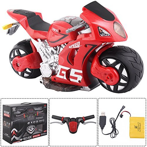 Costzon 1/8 Scale 2.4G 4D R/C Simulation Remote Control Drift Motorcycle Kids Toys Red