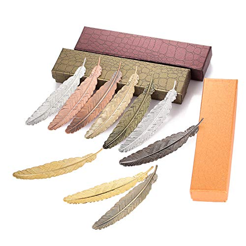 (PGMJ 10 Pieces Classical Exquisite Feather Metal Bookmarks in Gift Box, Ideal Gift for Halloween Thanksgiving Day Christmas to Friends and Family)