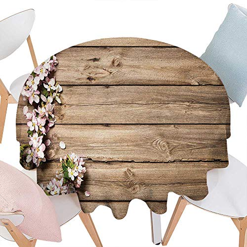 Orchard Crystal Plates - cobeDecor Rustic Dinner Picnic Round Table Cloth Sweet Spring Flowering Tree Branch on Weathered Wooden Blooming Orchard Image Waterproof Round Table Cover for Kitchen D54 Pink Brown Green