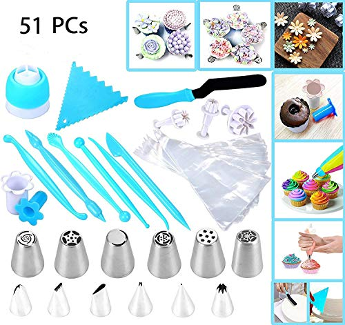 - Joiedomi 51 Pieces Cake Icing and Decorating Kit Including 12 Stainless Steel Icing Tips, 25 Disposable Decorating Bags, Tri Color Coupler, Icing Spatulas, Icing Smoother, Cupcake Corer and More