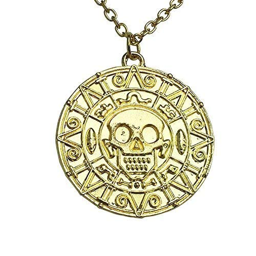 Graceful Goods Caribbean Pirate's Treasure Aztec Skull Coin Medallion Necklace]()