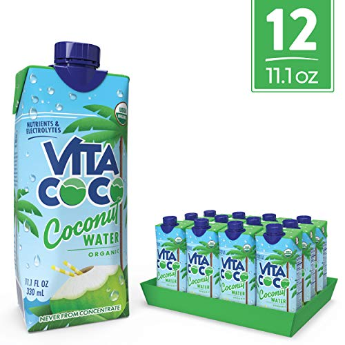 Vita Coco Coconut Water, Pure Organic | Naturally Hydrating Electrolyte Drink | Smart Alternative to Coffee, Soda, and Sports Drinks | Gluten Free | 11.1 Ounce (Pack of 12)