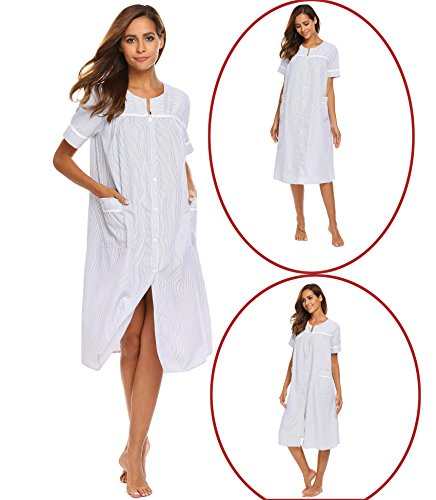 Beautiful Button Front (Acecor Women Sleepshirt V-Neck Nightgown Short Sleeve Sleep Dress Sleepwear)
