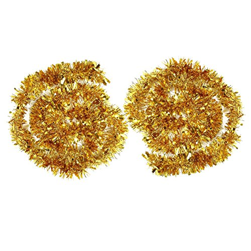 BBTO 2 Pieces Metallic Tinsel Garlands Glittering Tinsel Wire Garland Christmas Tree Decoration Garland Shiny Chunky Garlands, 4 Meters Total (Golden) (Christmas Diy Tree Tinsel)