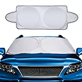 #8: Mtlee Car Windshield Sun Shade Snow Cover Visor Protector Awning Shade Large Foldable Silvering UV Reflector with Ears and Travel Pouch Fits Most Car in Summer and Winter,1 Piece, 63 x 34 Inches