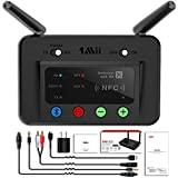 1Mii 230ft LONG RANGE Bluetooth Transmitter Receiver Bluetooth Audio Adapter Wireless Transmitter, Support aptX Low Latency&NFC, Digital Optical,RCA AUX 3.5mm for TV PC Bluetooth Headset/Speaker