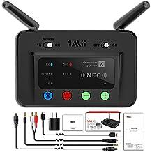 1Mii 230ft LONGRANGE Bluetooth TransmitterReceiverBluetoothAudioAdapter WirelessTransmitter,Support AptX Low Latency & NFC, Digital Optical, RCA AUX 3.5mm forTVPCBluetooth Earphone/Speaker