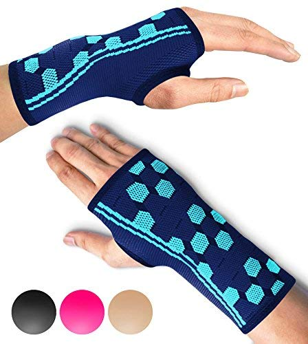 (Sparthos Wrist Support Sleeves (Pair) - Compression Wrist Brace for Men and Women - Carpal Tunnel Tendonitis Arthritis Pain Relief for Sports Injuries Arthritic Wrists Palm Hand Pain RSI (Blue-M))