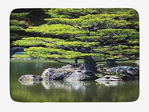 (Japanese Bath Mat, Pine Tree in Lake with Stones Japanese Organic Nature Scenery with Asian Garden Theme, Plush Bathroom Decor Mat with Non Slip Backing, 23.6 W X 15.7 W)