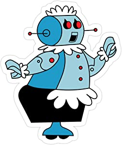 PRINTFIT (3 PCs/Pack) Robot Rosie The Maid from Jetsons 3x4 Inch Die-Cut Stickers Decals for Laptop Book Car Bumper Helmet Water Bottle