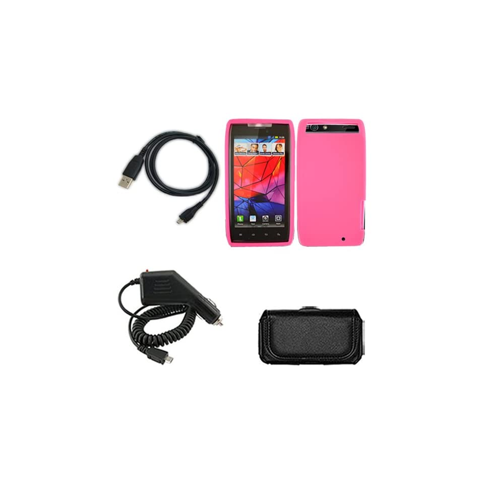 Droid Razr/XT912 Combo Solid Hot Pink Silicone Skin Case Faceplate