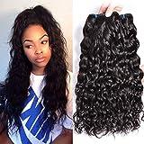 MSGEM Brazilian Virgin Hair Water Wave 3pcs lot Unprocessed Human Hair Weave Wet and Wavy Brazilian Hair Bundles Natural Wave 1B (12 14 16 inch)