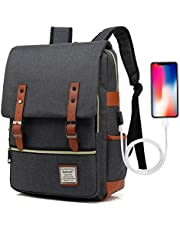 UGRACE Vintage Laptop Backpack with USB Charging Port, Elegant Water Resistant Travelling Backpack Casual Daypacks School Shoulder Bag for Men Women, Fits up to 15.6Inch Macbook in Black