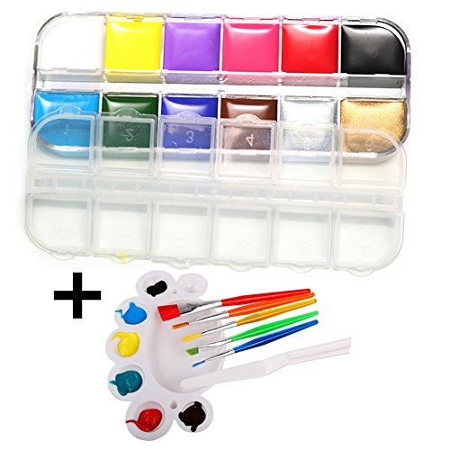 Face & Body Paint Kit - 12 Colors, 5 Brushes, 1 Clay Knife, 1 Palette, Professional 12 Colors DIY Oil Painting Art Face Painting Set for Adults & Kids - Non-Toxic FDA Approved - By Ninery Ave
