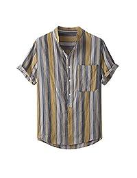 Minikoad_Men Coat Men V-Neck Fashion Shirt Tops, Male Color Striped Printed Buttons Short Sleeve T-Shirt Blouse Tops