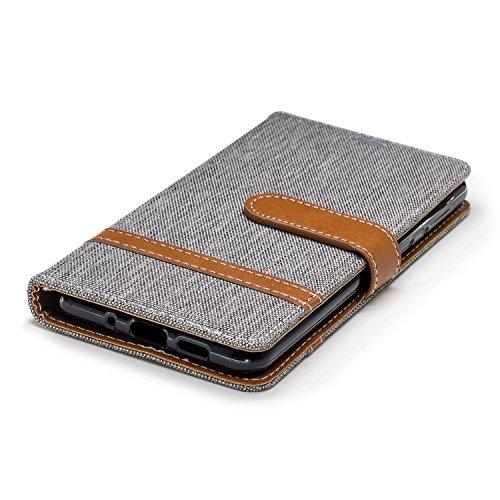 Nokia Porte Support 2018 Coque 3 PU gris BONROY avec 2018 Case 3 1 pour Fonction Printemps Cartes Housse Étui Cover Nokia Cuir Dragonne Flip 1 Portefeuille denim Wallet wqtwT1IZn